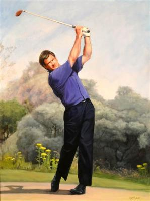 "Sir Nick Faldo - 36""x48"" Oil on Linen"